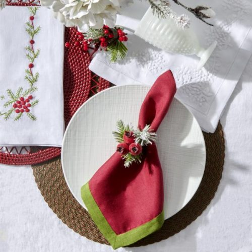 Deborah Rhodes Winter Woods Embroidered White Napkin