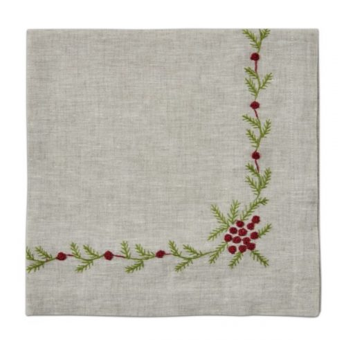 Winter Woods Embroidered Flax Napkin