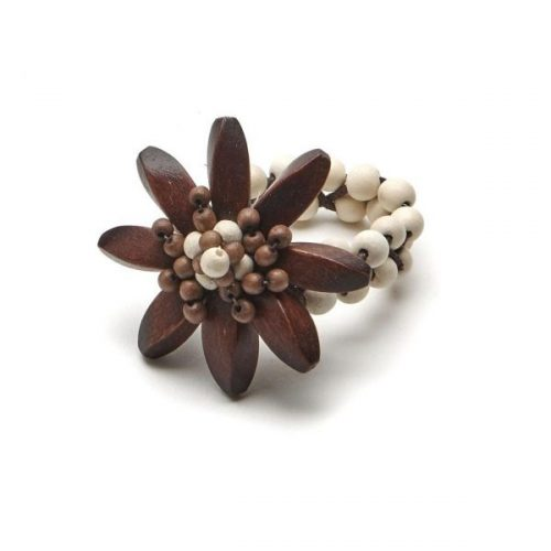 Deborah Rhodes Napkin Ring Ebony Wood Flower