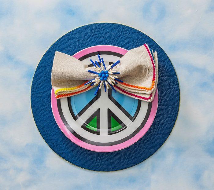 Kim Seybert Napkin Ring Capri in Navy & White-Set of 2