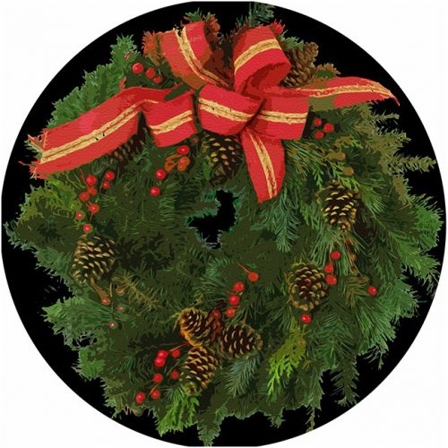 Christmas Wreath Black Round Placemat - Set of 2