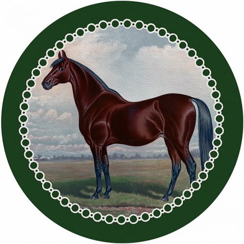 English Thoroghbred Green Round Placemat - Set of 2
