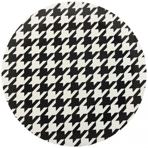 Houndstooth Black Round Placemat - Set of 2