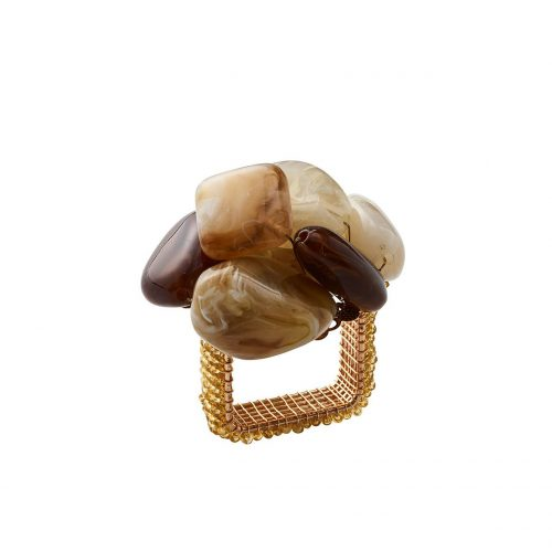 Kim Seybert Napkin Ring Sea Stone in Beige-Set of 2
