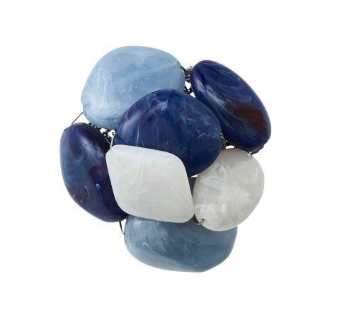 Kim Seybert Napkin Ring Sea Stone in Navy & White-Set of 2