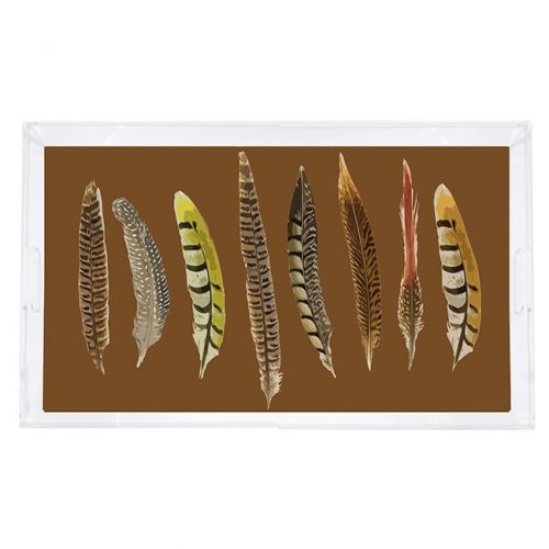 """Pheasant Feathers Brown 22.5"""" x 14.5"""" Acrylic Tray"""
