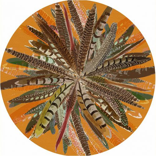 Pheasant Feathers Butternut Round Placemat - Set of 2