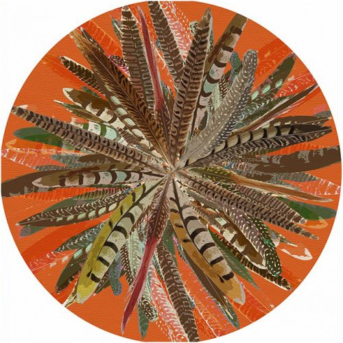 Pheasant Feathers Orange Round Placemat - Set of 2