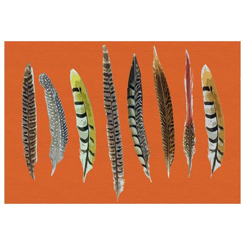 Pheasant Feathers Orange Rectangle Placemat - Set of 2