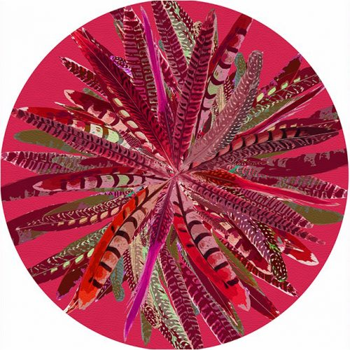 Pheasant Feathers Plum Round Placemat - Set of 2