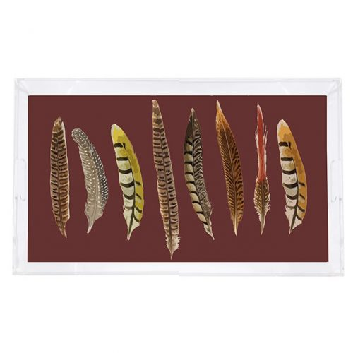 "Pheasant Feathers Brown 22.5"" x 14.5"" Acrylic Tray"