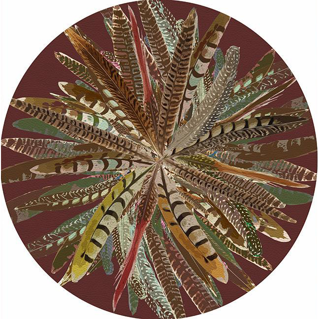 Pheasant Feathers Brown Round Placemat - Set of 2