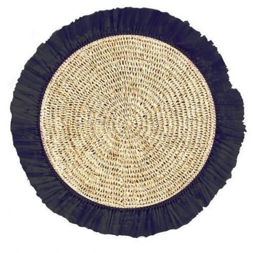 Black Woven Rattan Placemat - Set of 2