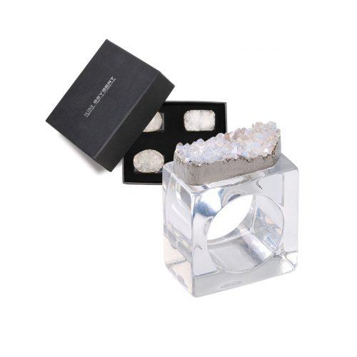 Kim Seybert Napkin Ring Rock Crystal in Gift Box-Set of 4