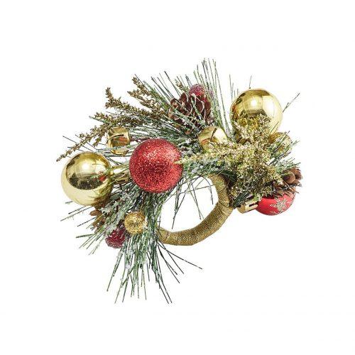 Kim Seybert Napkin Ring Holiday Bough - Set of 4