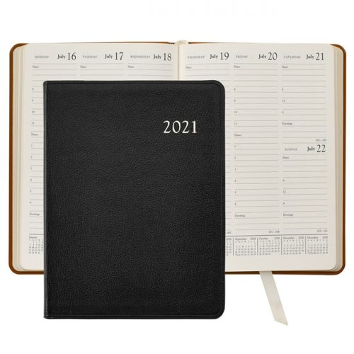 2021 Desk Diary Black Leather