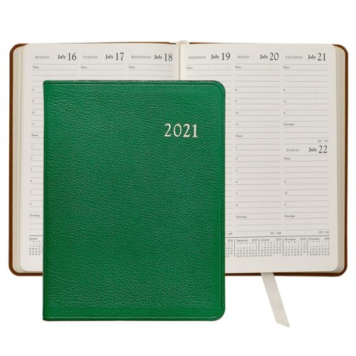 2021 Desk Diary Green Leather
