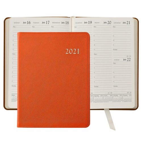 2021 Desk Diary Orange Leather