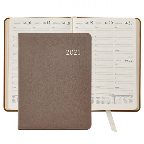 2021 Desk Diary Taupe Leather
