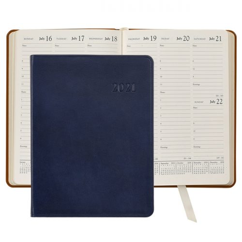 2021 Desk Diary Blue Leather