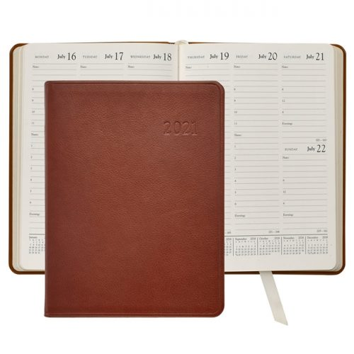 2021 Desk Diary Tan Leather
