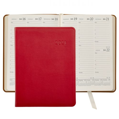 2021 Desk Diary Red Leather
