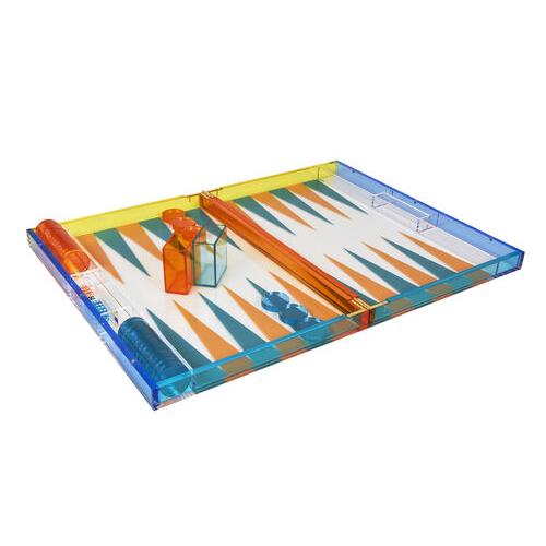 Lucite Multicolor Backgammon Set - Turquoise/Orange