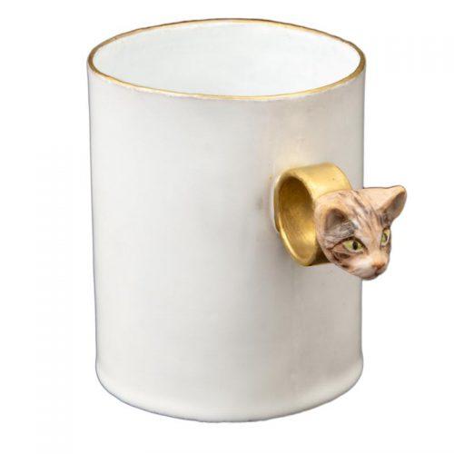 Astier De Villatte Serena Striped Cat Ring Cup