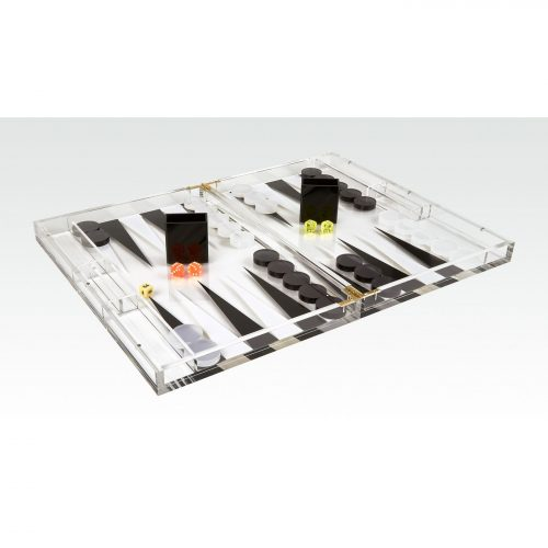 Acrylic Backgammon Set Black & Clear