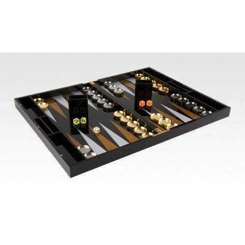 Lacquered Wood Backgammon Set Black & Clear