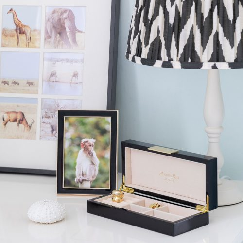 "Black Enamel and Gold Photo Frame 5""x7"""