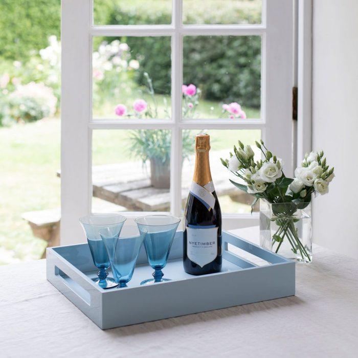 Pale Denim Ottoman Medium Tray Blue