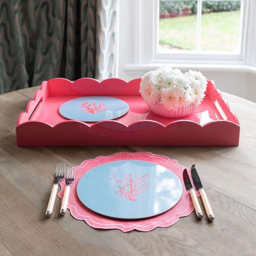 Lacquered Scallop Ottoman Large Tray Pink