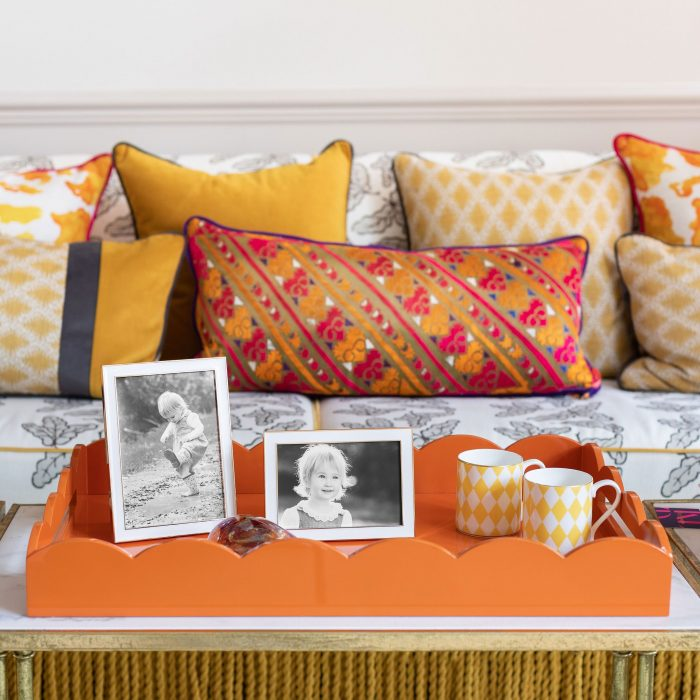 Lacquered Scallop Ottoman Large Tray Orange
