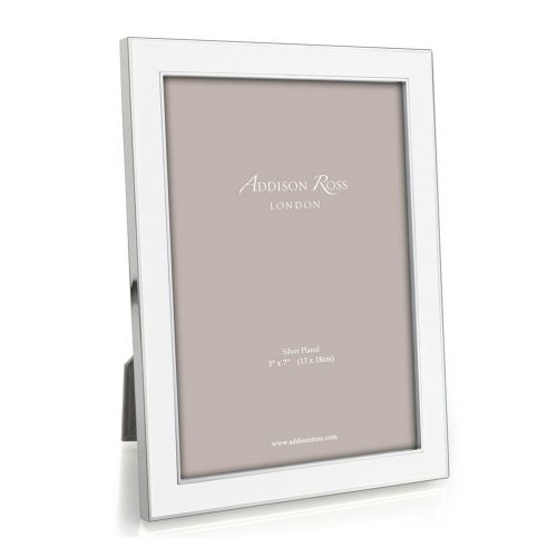 "Addison White Enamel and Silver Photo Frame 5""x7"""
