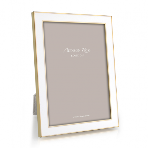 "White Enamel and Gold Photo Frame 8""x10"""