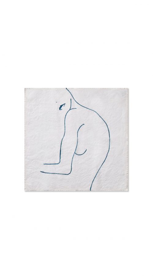 "Nude Linen ""Female With Lips"" in Midnight Blue Napkin - Set of 2"