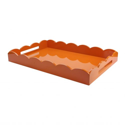 Lacquered Scallop Ottoman Large Tray Orange