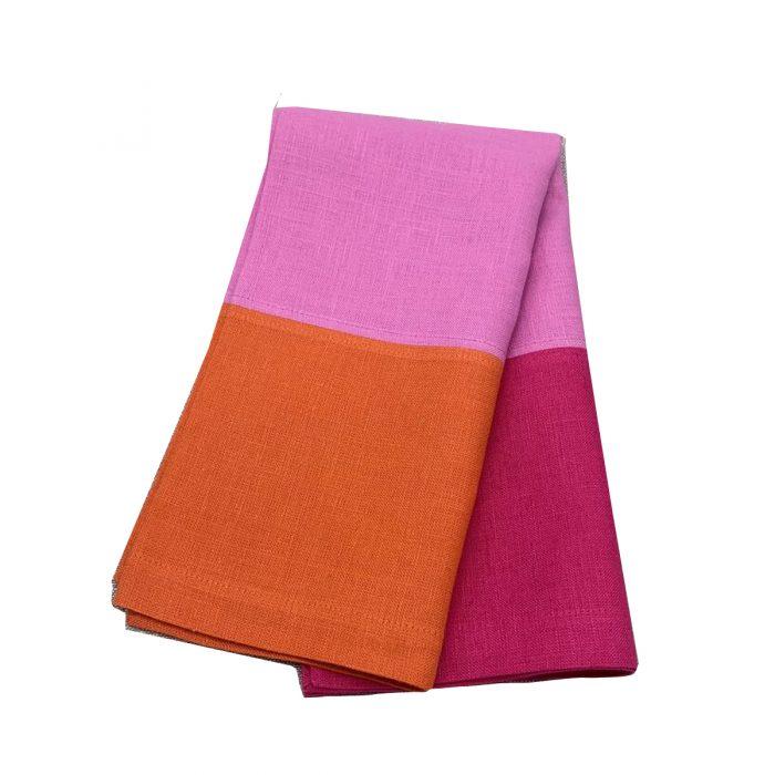 3 Color Block Pink-Orange-Rose Napkin