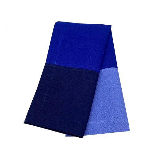 3 Color Block Shades of Blue Napkin - Set of 2