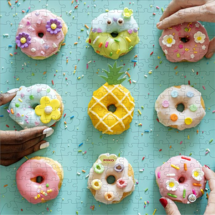 I Go To Pieces 9 Donuts in Pass-It-On Pouch 250 Wooden Piece Jigsaw Puzzle