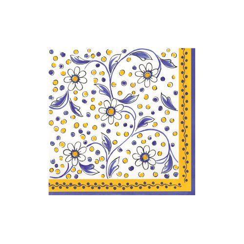 Le Cadeaux Yellow Benidorm Patterned Paper Dinner Napkin Set of 20