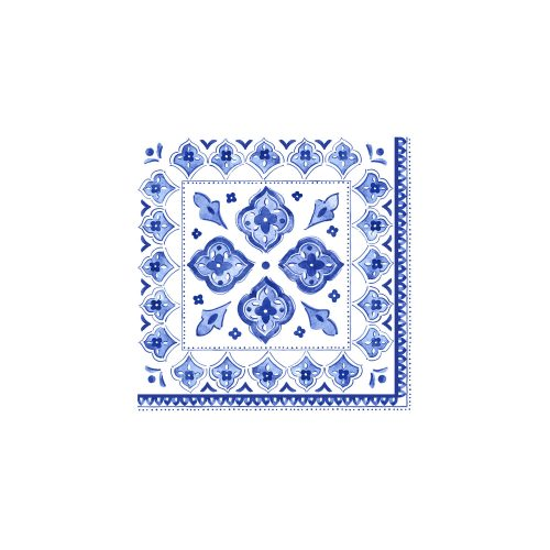 Le Cadeaux Blue Moroccan Patterened Paper Cocktail Napkin Set of 20