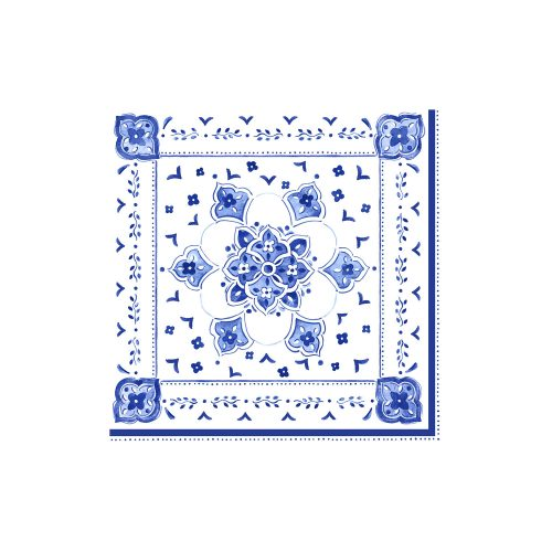 Le Cadeaux Blue Moroccan Patterned Paper Dinner Napkin Set of 20