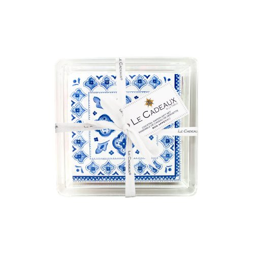 Le Cadeaux Blue Moroccan Patterned Paper Cocktail Napkin in Acrylic Holder Set of 30