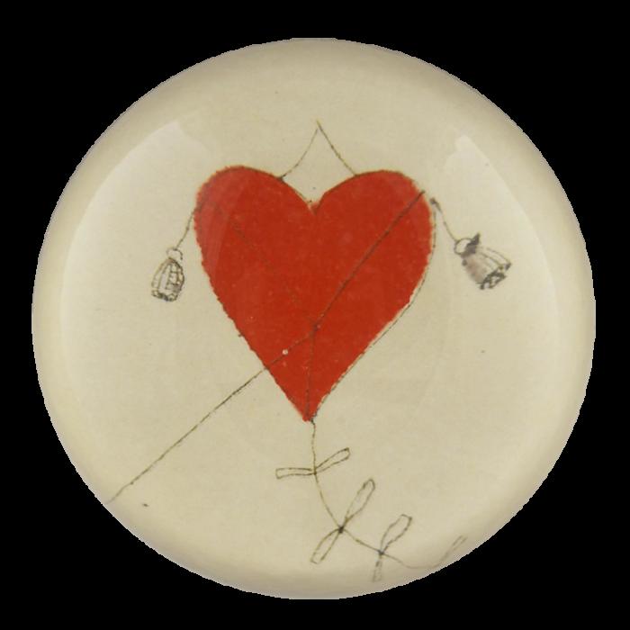 John Derian - Red Heart Kite Dome Paperweight