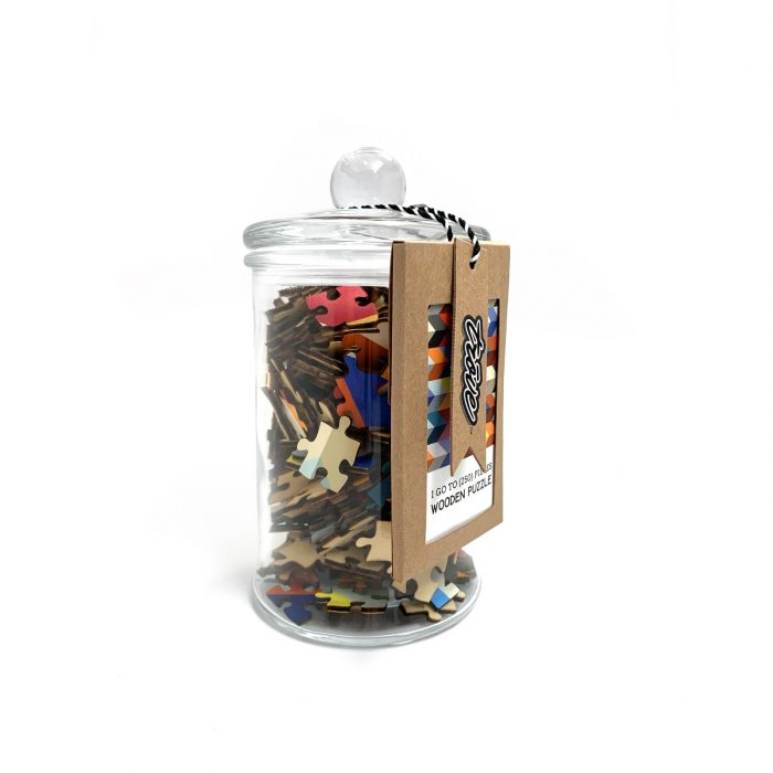 I Go To Pieces Herringbone Repeat Apothecary Jar 250 Wooden Piece Jigsaw Puzzle
