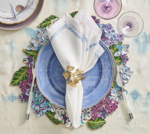 Butterfly Garden Gold and Silver Napkin Ring - Set of 4