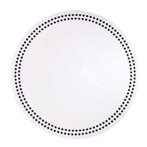Round Pearls Black White Placemat - Set of 2