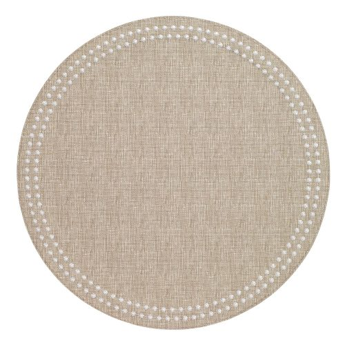 Round Pearls Beige White Placemat